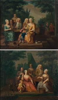 scènes familiales dans un paysage (2 works) by d.l. hofmann