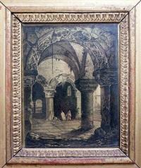 scène gothique, moine agenouillé dans une crypte by louis jaques mandé daguerre