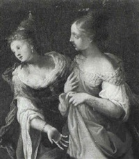 two elegant ladies discoursing by giovanni andrea ansaldo