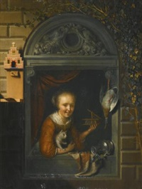 a young girl at a window ledge with a cat and a mouse-trap, a hung duck and a pewter ewer beside her by gerrit dou