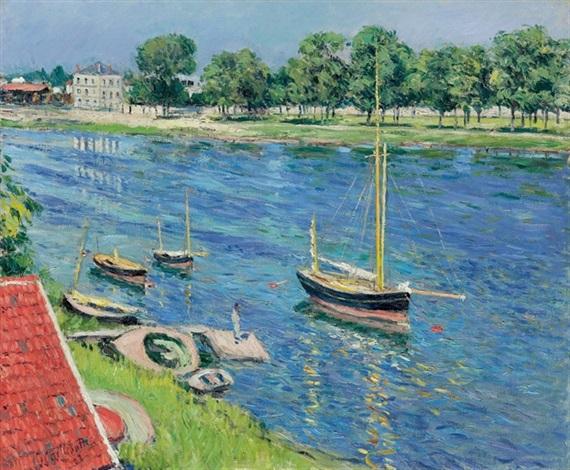 la seine à argenteuil, bateaux au mouillage by gustave caillebotte