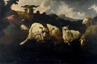 petit berger avec son chien gardant chèvres et moutons by philipp peter roos