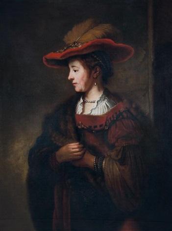 portrait de saskia avec un chapeau rouge by rembrandt van rijn