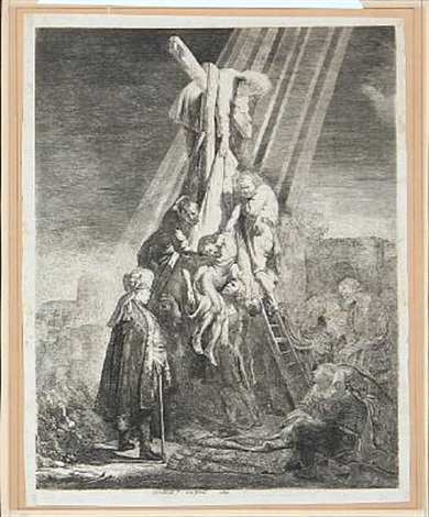 the descent from the cross the second plate by rembrandt van rijn