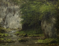 woodland stream by gustave courbet