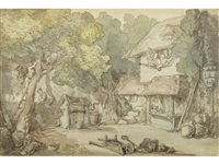 robbing an orchard by thomas rowlandson