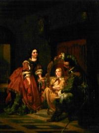 intérieur romantique chez le peintre où une jeune fille est présentée dans un cadre ovale by casimir van den daele