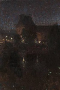 late evening in paris with a view towards louvre by julius paulsen