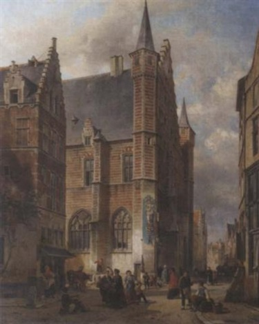 bustling city life around the vleeshal antwerp by jean jan michael ruyten
