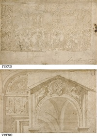 a battle scene with soldiers assaulting a city and a study of a frieze (+ studies of a doorway with an elaborate lunette..., verso) by andrea boscoli