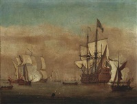 the flagship royal sovereign announcing her arrival at the anchorage with admiralty yachts and a frigate saluting nearby by samuel scott