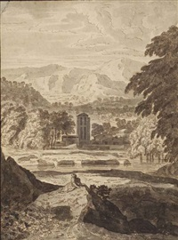 an italianate landscape with buildings near a river and a figure seated on a rock in the foreground by jacob van liender