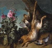nature morte au perdreau, lièvre et rose trémière by jean-baptiste oudry