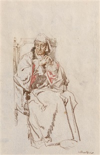 ernest thessiger as voltaire by william russell flint