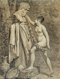 une vestale couronnant une statue de bacchus by pierre claude françois delorme