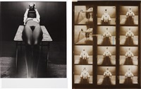 untitled (nude on a table); contact sheet (2 works) by guy bourdin