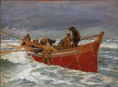 den røde redningsbåd sejler ud by michael peter ancher