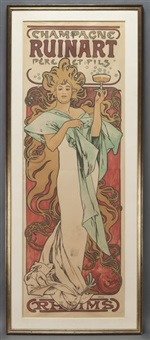 champagne ruinart color by alphonse mucha