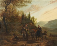 landscape with a peasant couple riding donkeys by karel dujardin