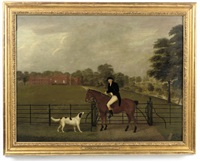 portrait of dr. tremlow, mounted on a chesnut hunter, with a hound before a gate, marbury hall beyond by john bryan