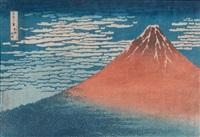 gaifu kaisei, le fuji rouge à l'aube, oban yoko-e (from fugaku sanjurokkei, les 36 vues du mont fuji) by katsushika hokusai