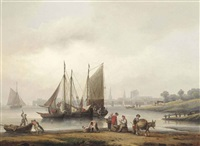 view of southampton from the east across the river itchen by thomas luny