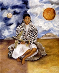 niña tehuacana, lucha maria (sol y luna) by frida kahlo