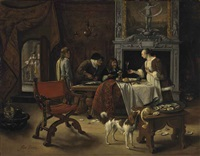 easy come, easy go: the artist eating oysters in an interior by jan steen