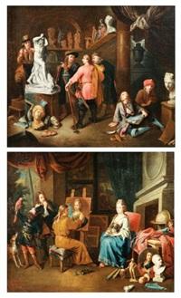 l'atelier du sculpteur (+ l'atelier du peintre; pair) by balthasar van den bossche