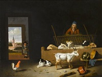 a barn interior with sheep, a goat, a dog, a cockerel and a farmer, with a boy in the doorway, a view to a village beyond by hubert van ravesteyn