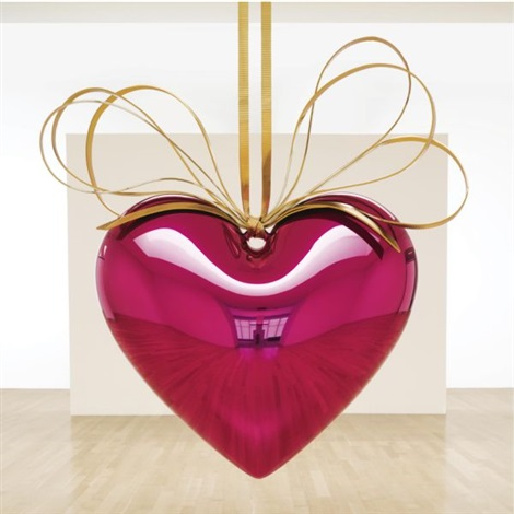 hanging heart magentagold by jeff koons