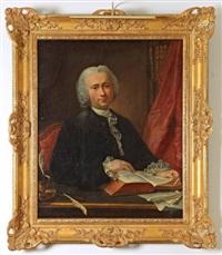 portrait d'un médecin dans sa bibliothèque, assis à son bureau, lisant le traité d'hippocrate by louis tocqué
