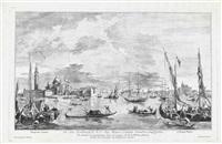 view of the isola di san giorgio maggiore (prospectus insulae...) (+ view of the riva di biasio (prospectus...), smllr; 2 works after francesco guardi) by domigi valesio