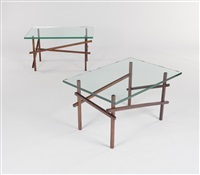 pair of matching walnut diagonal side tables by robert wilhite
