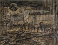 untitled - landscape with birds by bruno joseph bobak