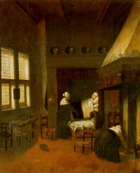 a bedroom with a woman in bed, her child in a cot and nurses by jacobus vrel