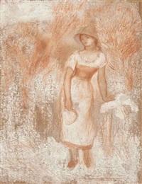 femme debout à la faucille (la moissonneuse) by pierre-auguste renoir
