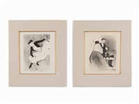 two lithographs, le café concert by henri de toulouse-lautrec