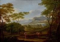 paysage de campagne avec une femme portant un panier by jan frans van bloemen