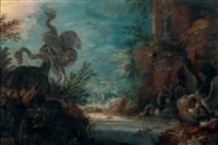autruches, cygnes et canards près d'une rivière, dit aussi les oiseaux de paradis by roelandt savery