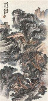 石梁秋瀑图 by xiao xun