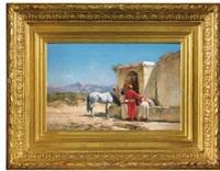 cheval à la fontaine by victor pierre huguet