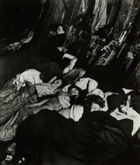 crowded, improvised air-raid shelter in a liverpool street tube tunnel by bill brandt