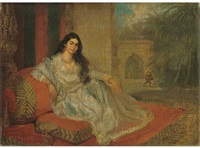 an indian woman reclining on bolsters on the terrace of a lucknow residence, a stem cup of jewels at her side, a bihishti laying the dust beyond by charles smith