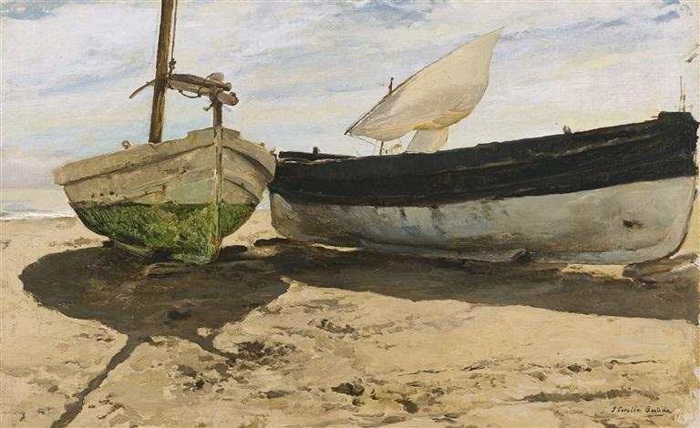 barcas en la playa, valencia (fishing boats on the beach, valencia) by joaquin sorolla y bastida