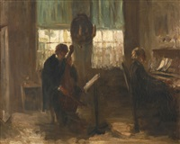 interior with two musicians by jozef israëls