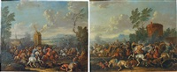 escarmouche de cavaliers devant un moulin (+ l'attaque du convoi; 2 works) by jan-peter van bredael the younger