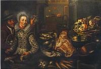 couple dans une cuisine avec nature morte de fruits, poissons, viande, légumes et ustensils de cuisine by cornelis jacobsz. delff