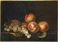 raisins et pêches sur un entablement by paul liegeois