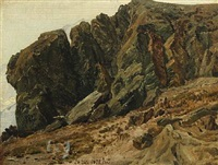 a rocky landscape from rosenlaui in switzerland by janus andreas barthotin la cour